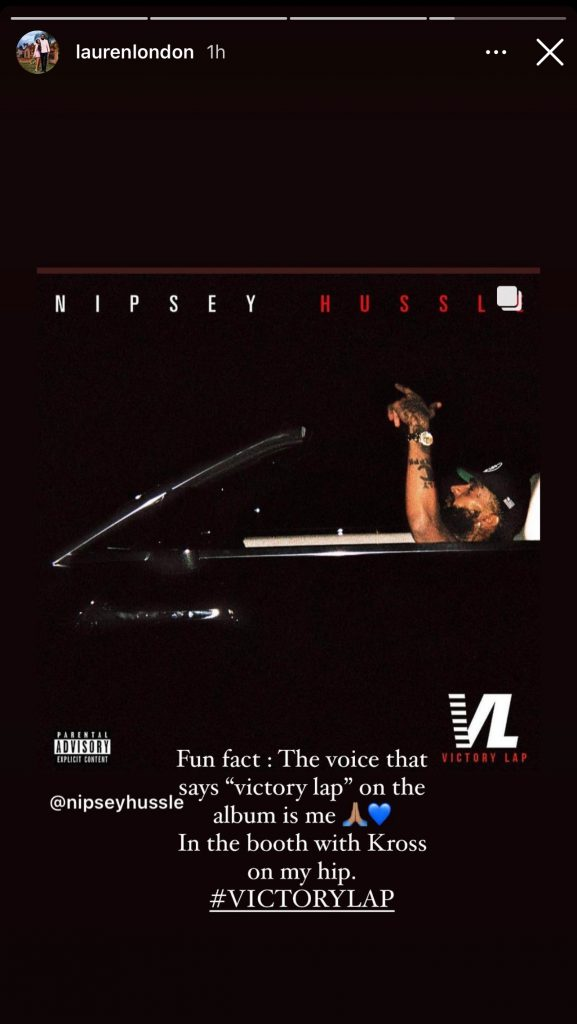 """The voice saying """"Victory Lap"""" throughout Nipsey Hussle's 'Victory Lap' album is Lauren London"""
