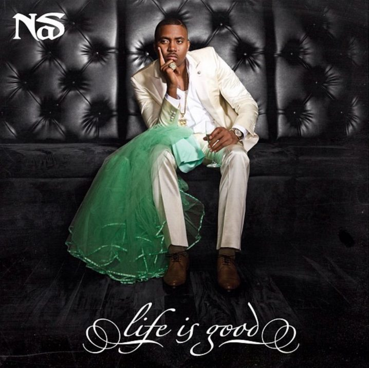 The green dress beside Nas on the cover of 'Life Is Good' was Kelis' wedding dress