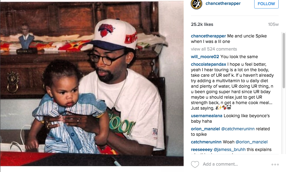 Chance the Rapper's uncle is Spike Lee Instagram